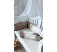 """Цельные бортики """"Комфорт"""" с декоративными строчками для прямоугольной кроватки"""