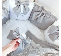 """Бортики в кроватку """"Стиль"""" для овальной кроватки. 12 подушек со съемными чехлами"""