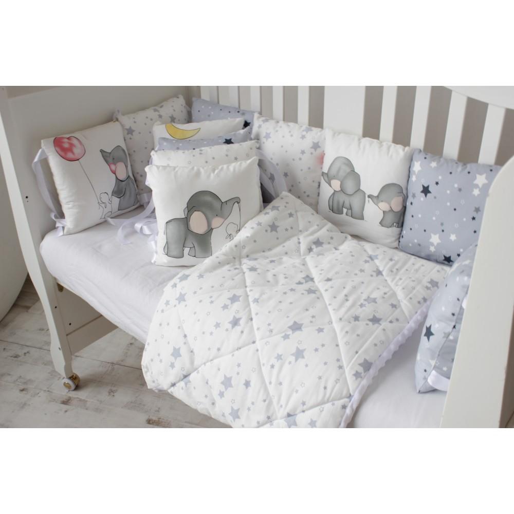 """Бортики-подушки """"Стандарт"""" с атласными лентами. 12 подушек на всю кроватку"""