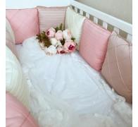 """Бортики в кроватку """"Совершенство"""" без кружева. 12 подушек со съемными чехлами"""