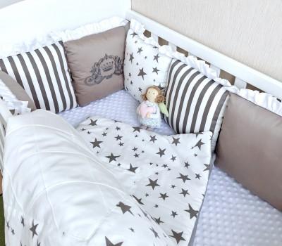 """Комплект бортиков в кроватку """"Звездный"""". 12 подушек со съемными чехлами"""