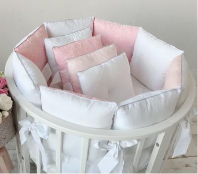 """Комплект в кроватку """"Paradise"""" розовый/молочный. Для прямоугольной 120*60 см, овальной 125*75 (75*75) см."""