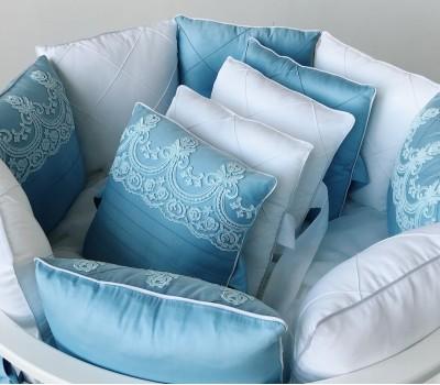"""Комплект в кроватку """"Paradise"""" голубой/молочный. Для прямоугольной 120*60 см, овальной 125*75 (75*75) см."""