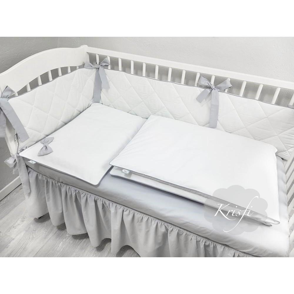 Бортик в кроватку стеганный, тонкий для прямоугольной кроватки