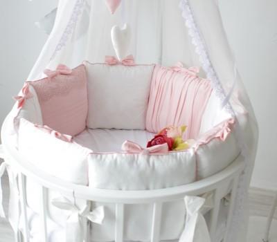 """Комплект в кроватку """"Розовый сон"""". Для прямоугольной 120*60 см, овальной 125*75 (75*75) см."""