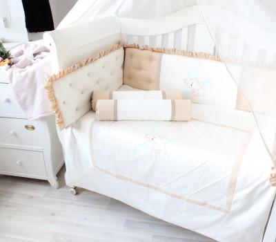"""Комплект в кроватку """"Слоненок"""" с эксклюзивной вышивкой. Для прямоугольной кроватки 120*60 см."""