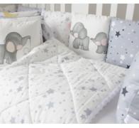"""Комплект в кроватку """"Слоники и звезды"""" с атласными лентами"""
