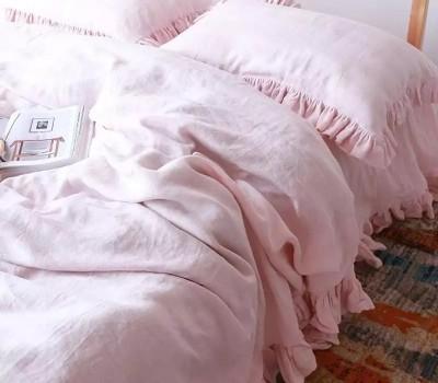 Комплект постельного белья из органического хлопка с оборками (для любой кровати, в том числе для взрослой).