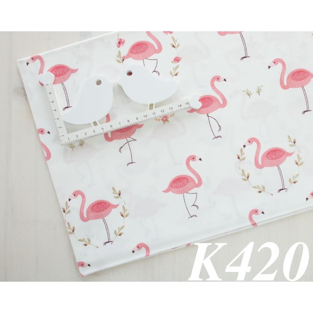 Сатин (100% хлопок). Цвет: фламинго. Молочный и розовый