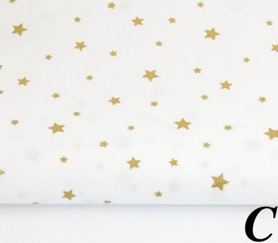 Сатин (100% хлопок). Цвет: звезды с глиттером (золотое напыление). Молочный