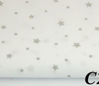 Сатин (100% хлопок). Цвет: звезды с глиттером (серебрянное напыление). Молочный