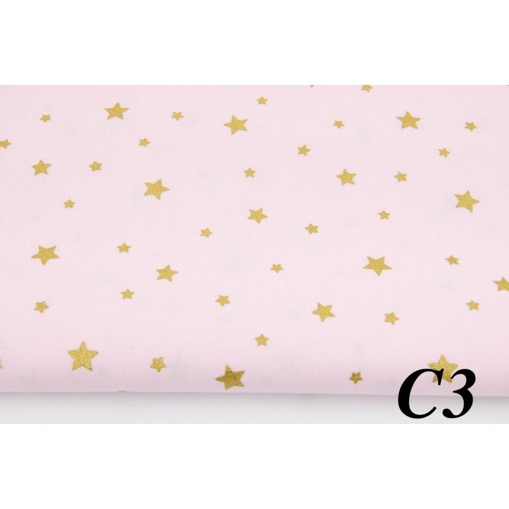 Сатин (100% хлопок). Цвет: звезды с глиттером (золотое напыление). Розовый