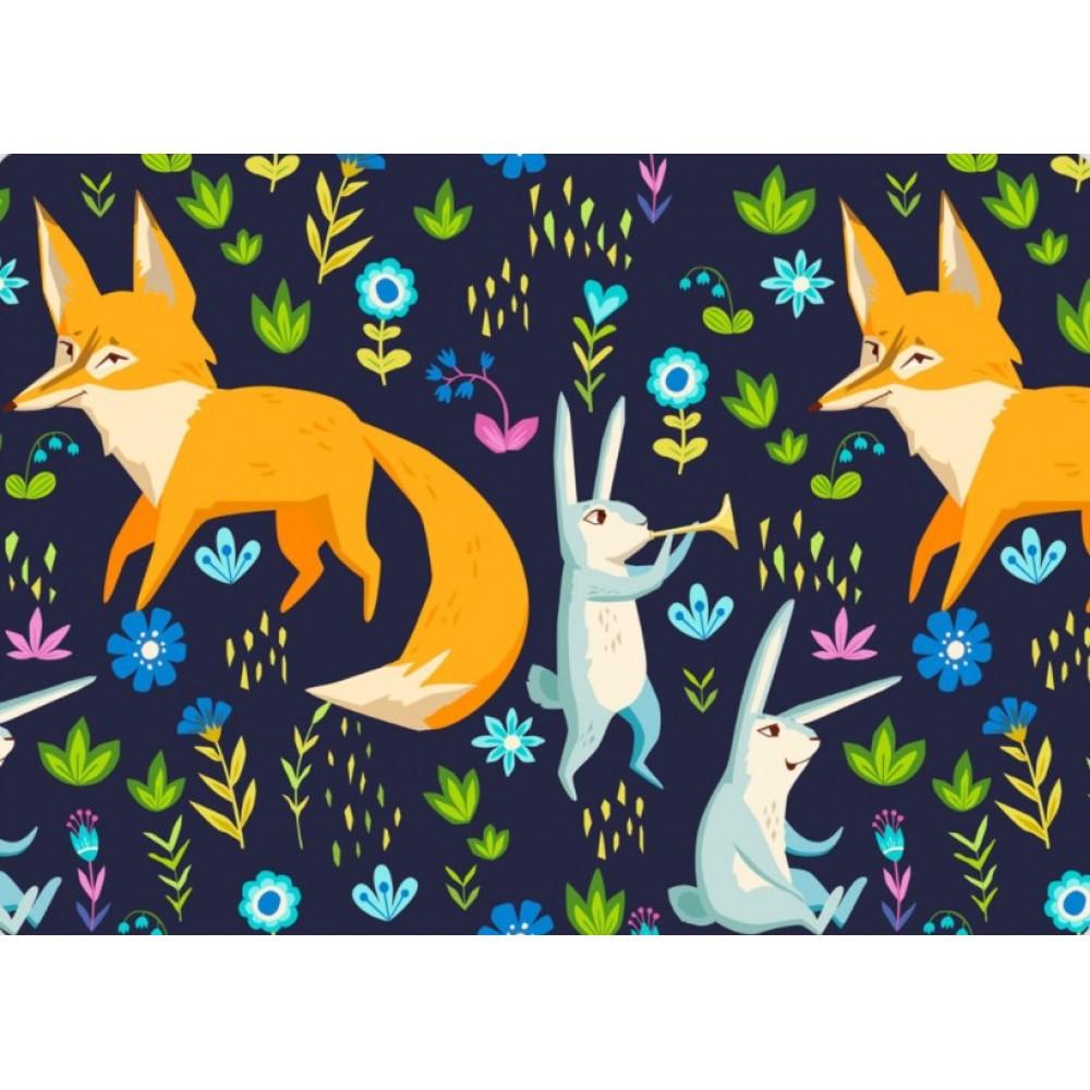 Сатин (100% хлопок). Цвет: животные. Темно-синий