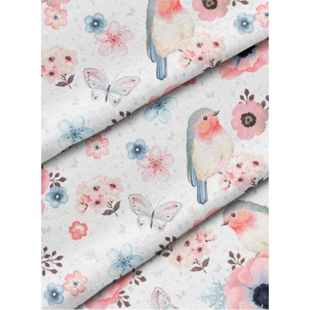 Сатин (100% хлопок). Цвет: птицы с цветами. Розовый